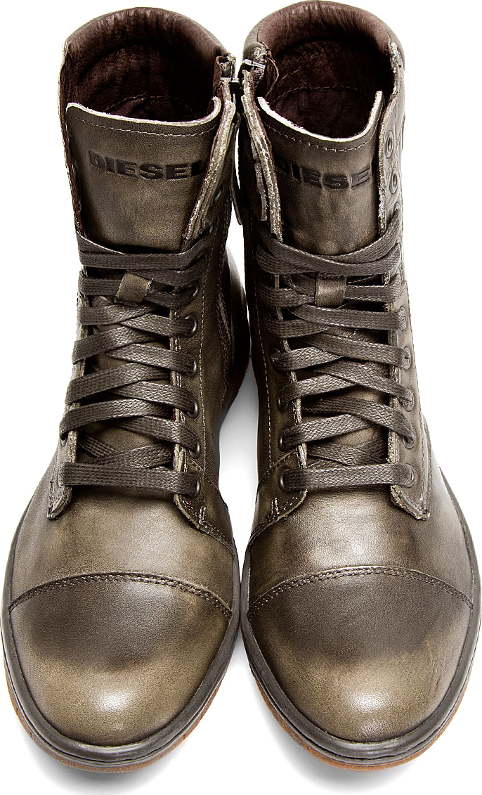 Lyst Diesel Grey Leather Basket Butch Boots In Gray For Men