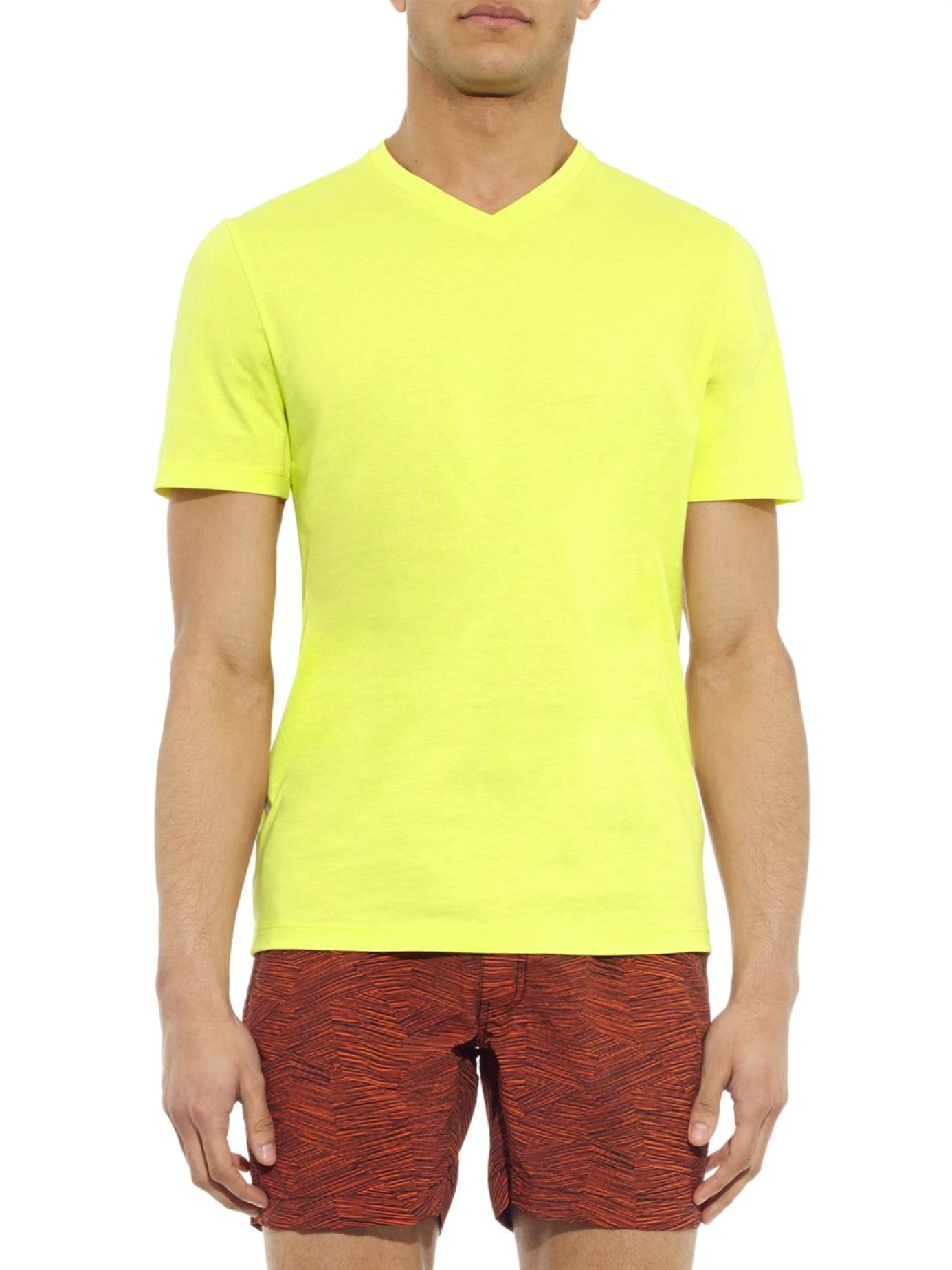 Lyst Danward V Neck Cotton T Shirt In Yellow For Men