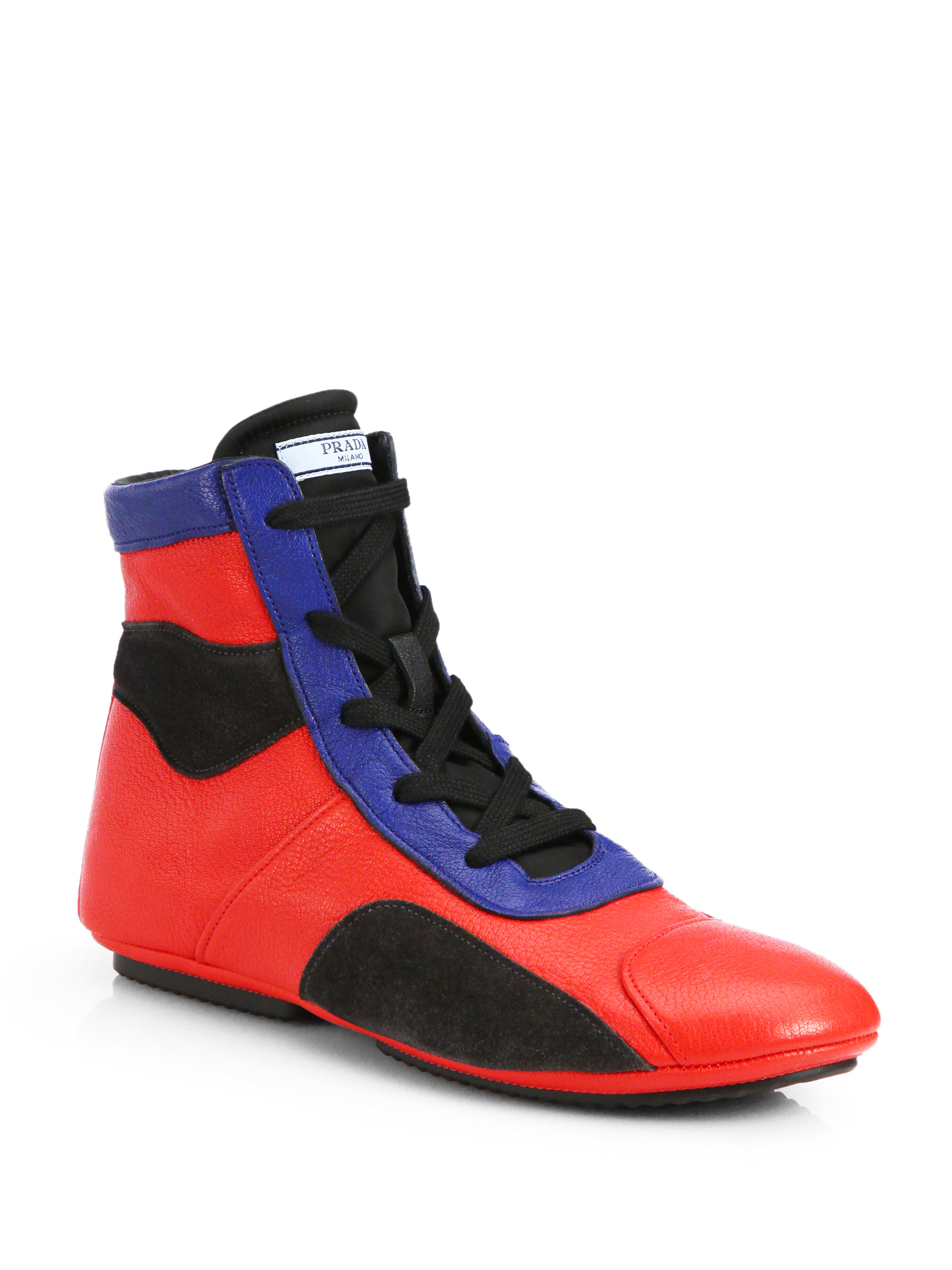 faaf3e7c5ce2 clearance lyst prada multicolor hightop boxing sneakers in red for men  f3c82 55395