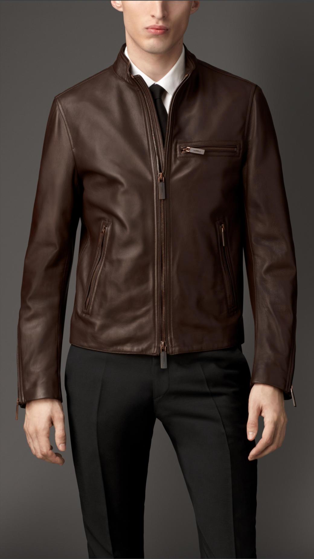 Burberry Zip Detail Lambskin Biker Jacket in Brown for Men | Lyst