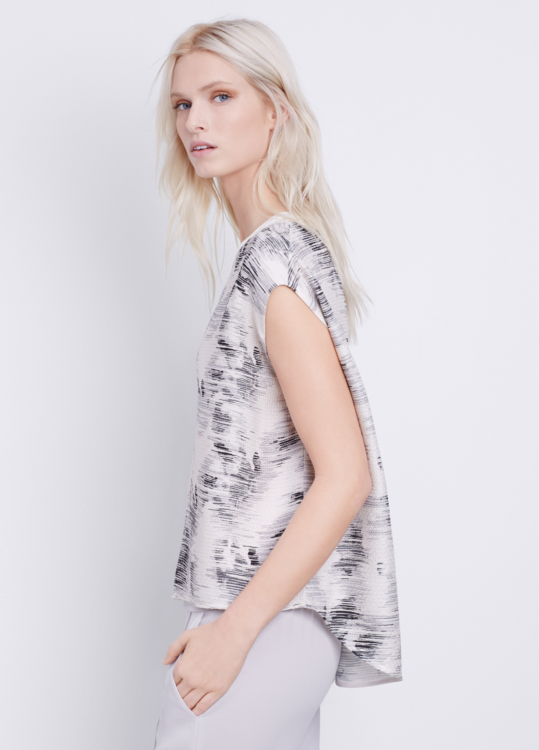Vince Silk Marble Jacquard Top In White Lyst
