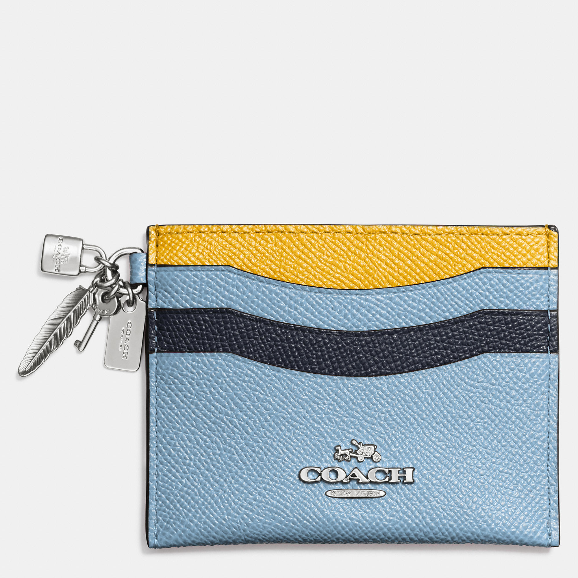 premium selection f4d54 d9c4d COACH Blue Charm Flat Card Case In Colorblock Leather
