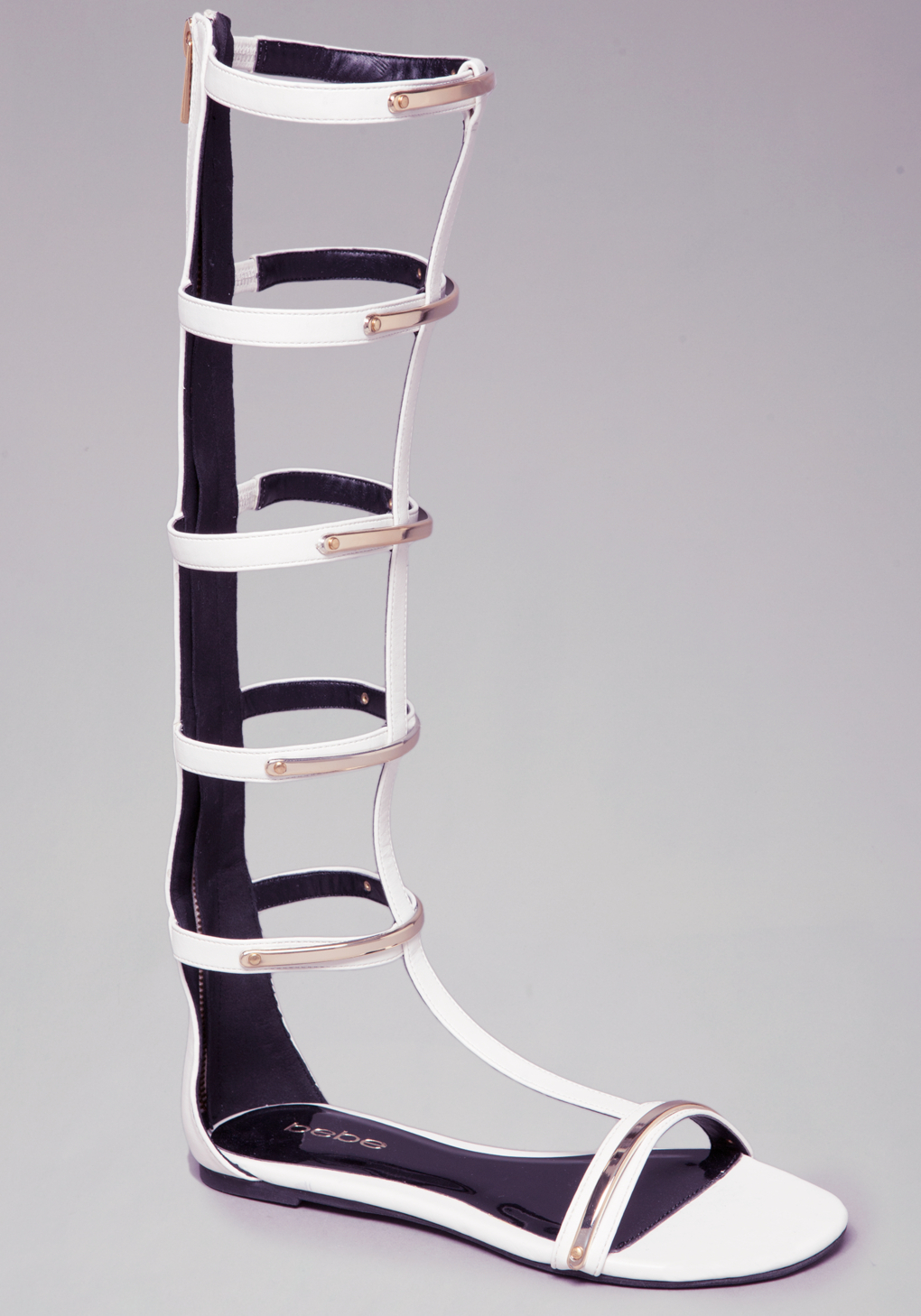 Bebe Gladiator Flat Sandals In White Lyst