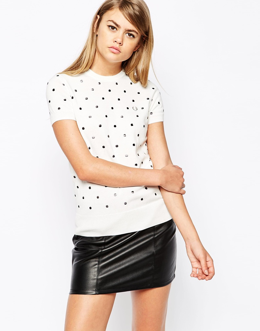 Fred Perry Embroidered Polka Dot Knitted T-shirt in White ...