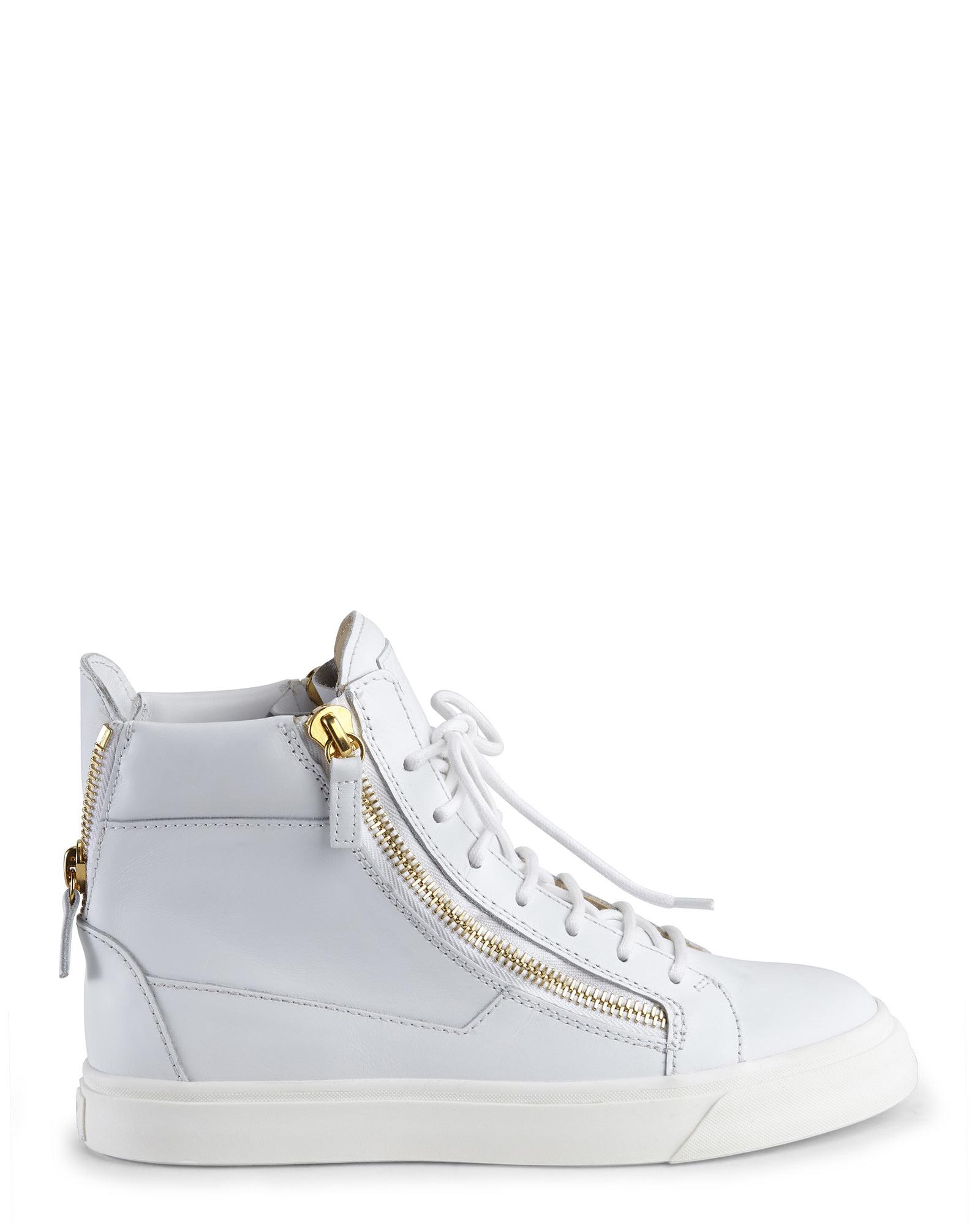 giuseppe zanotti white sneakers in white lyst
