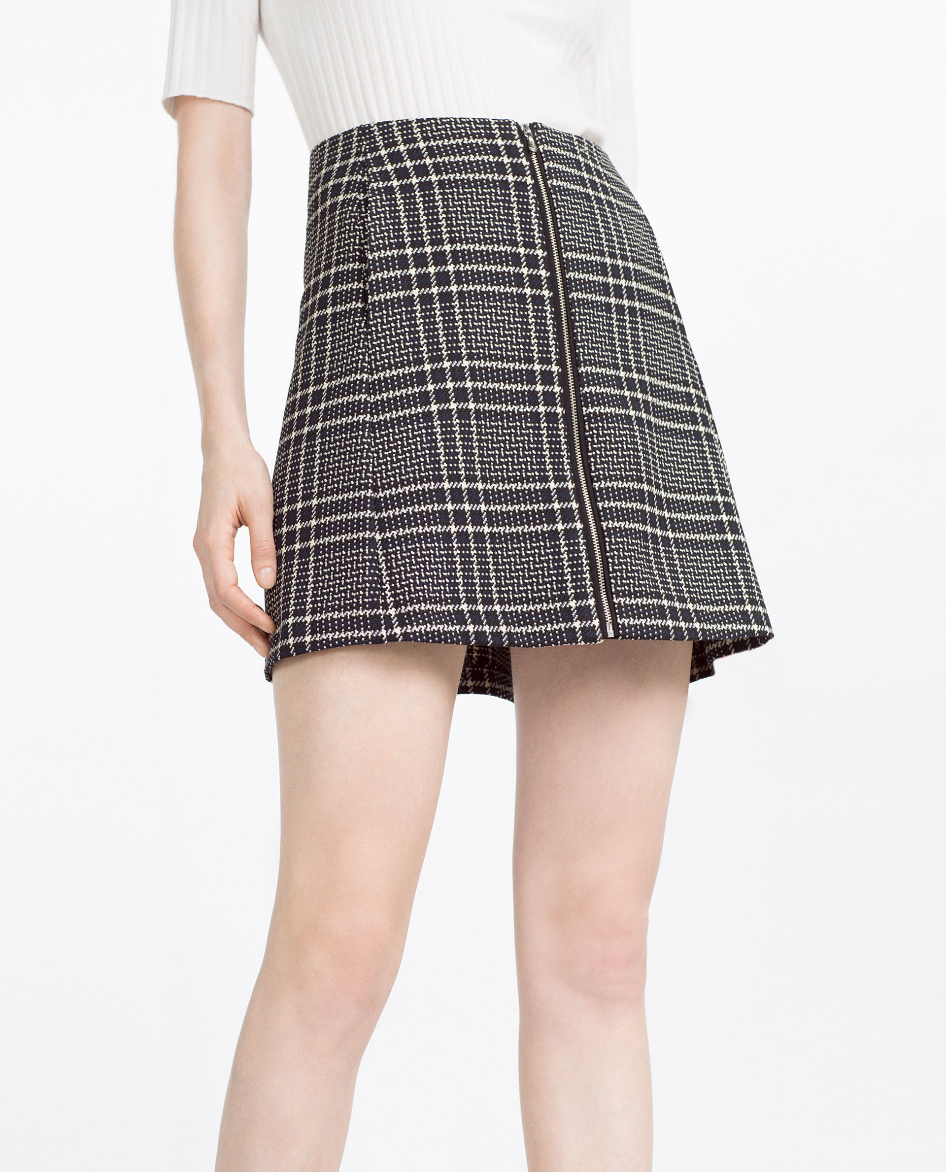 Zara Check Skirt in Black | Lyst