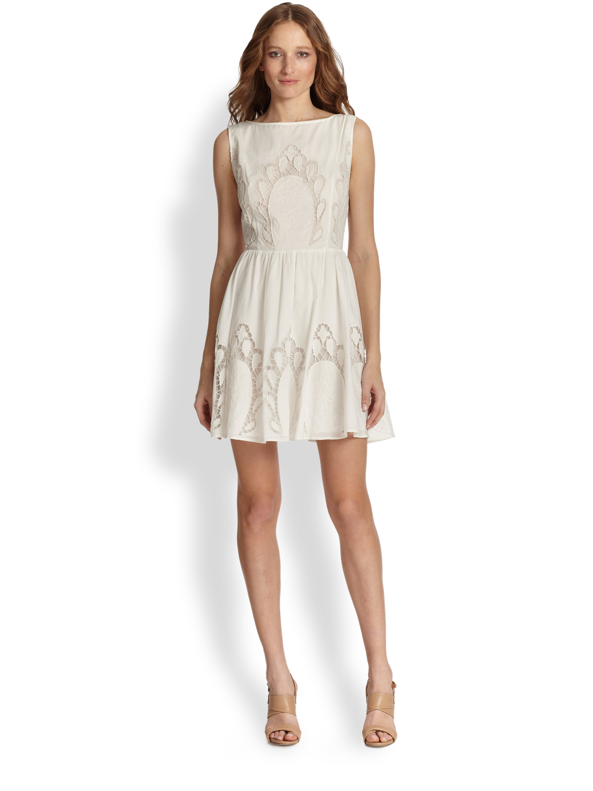Lyst alice olivia vinny embroidered cutout cotton