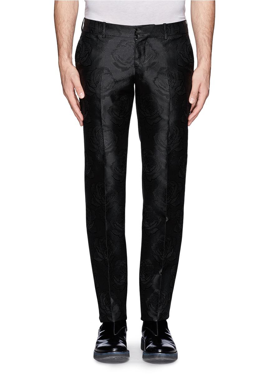 Lyst Alexander Mcqueen Rose Jacquard Silk Pants In Black