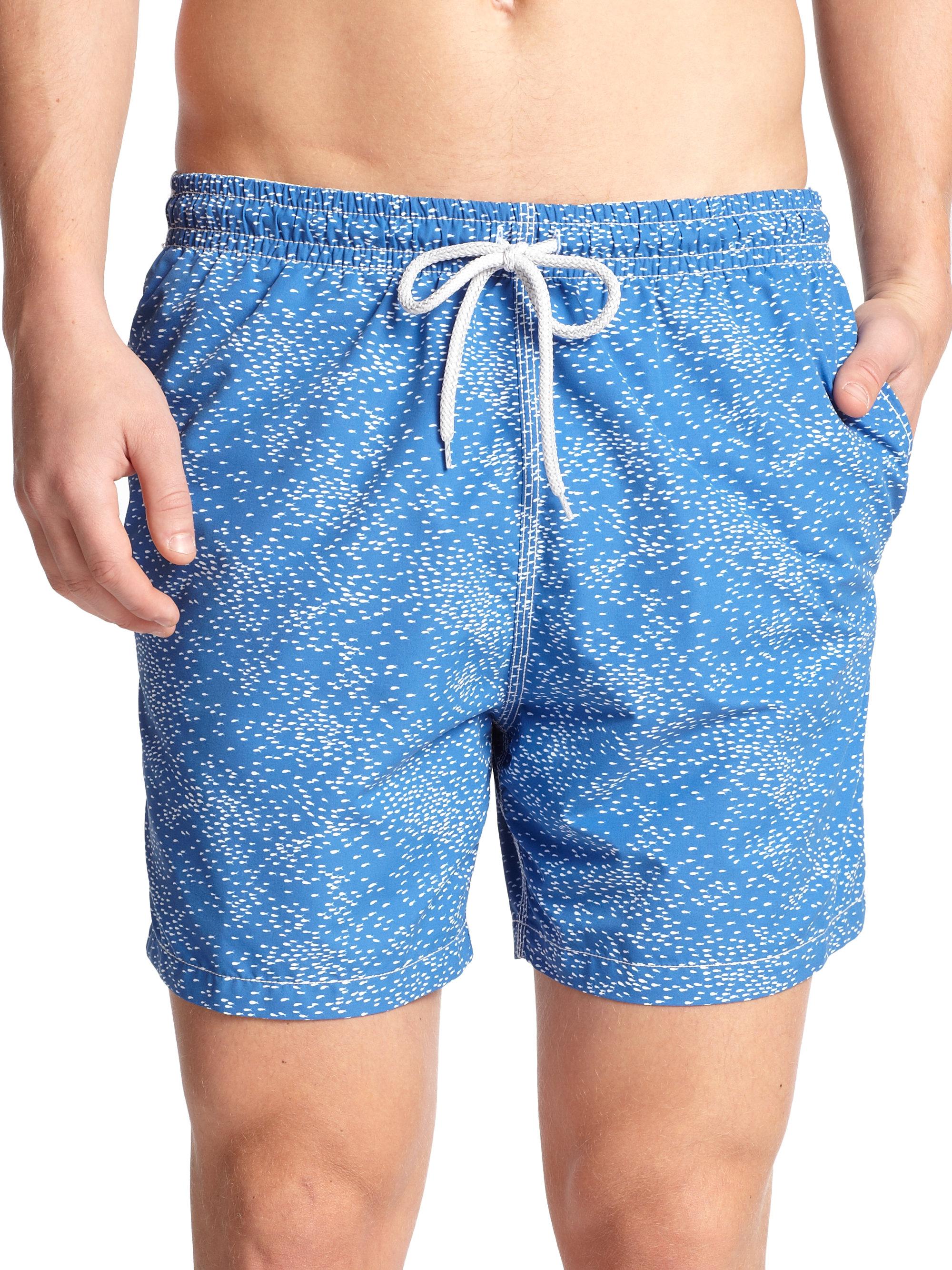 Saks fifth avenue school of fish swim trunks in blue for for Fishing swim trunks