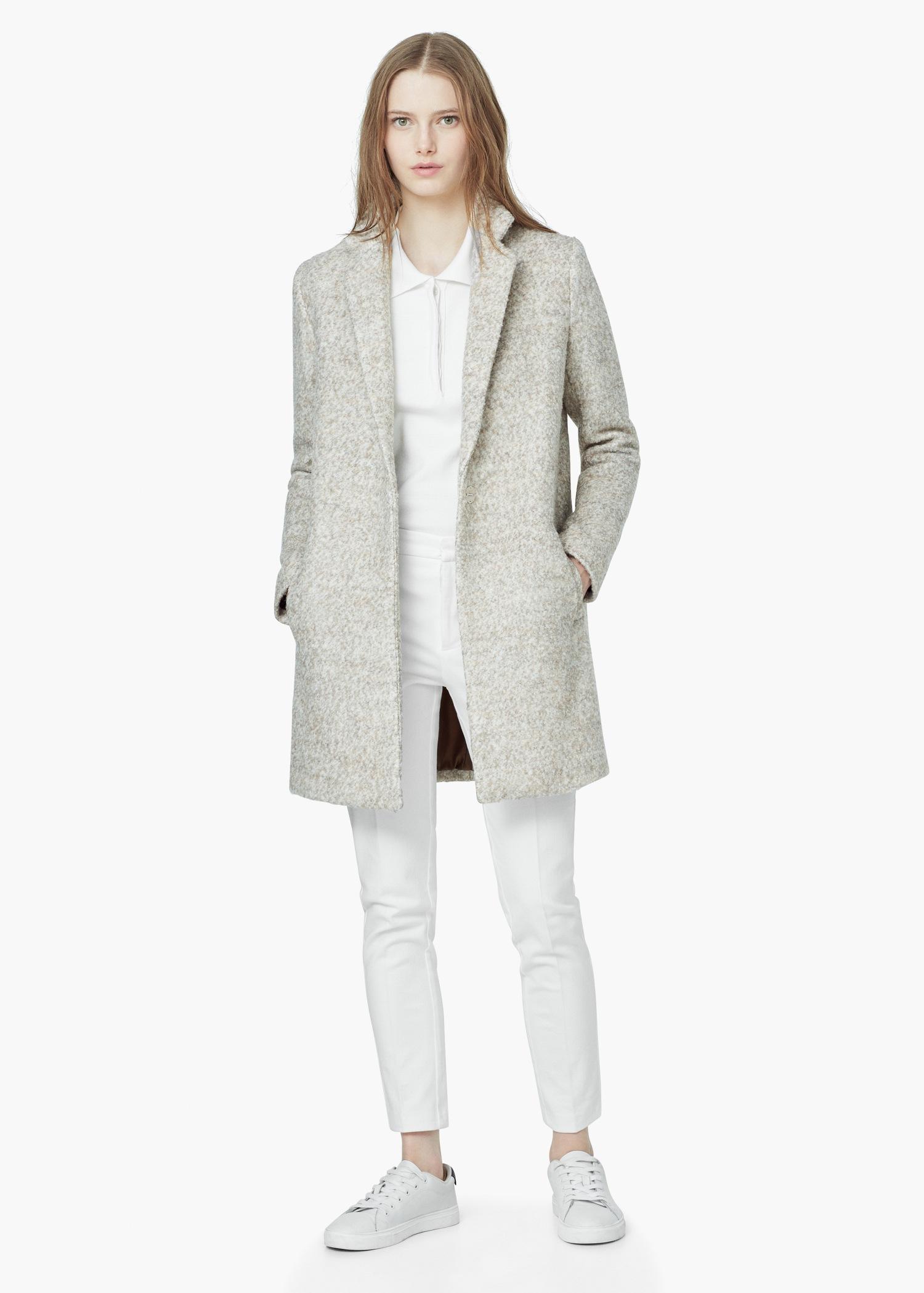 Mango Bouclé Wool Coat in Natural | Lyst
