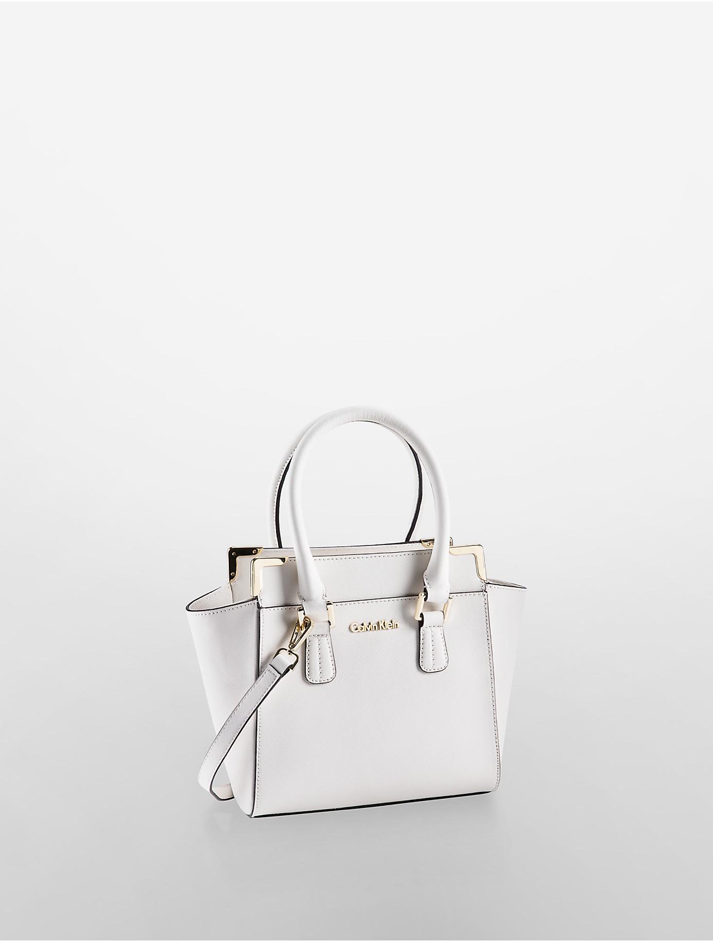 Calvin klein White Label Saffiano Leather Small Winged Tote Bag in ...
