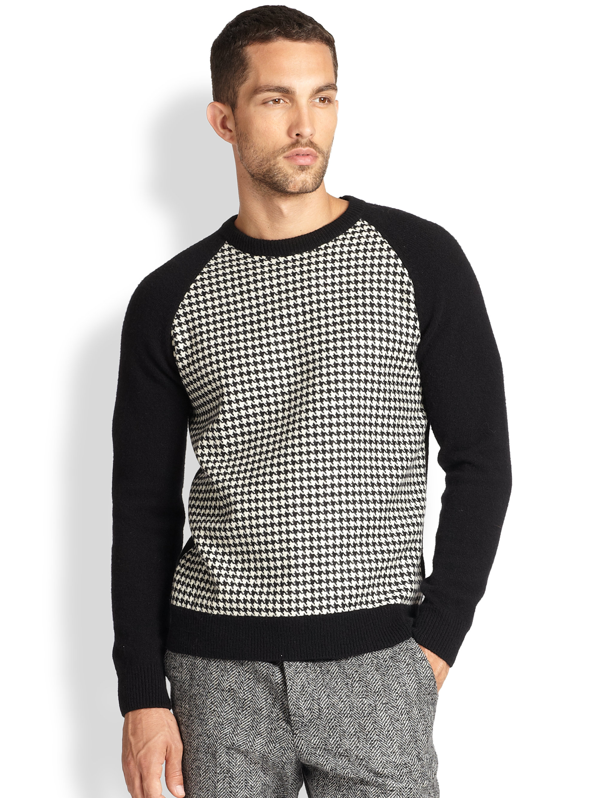 Ami Wool Houndstooth Sweater in Black for Men | Lyst