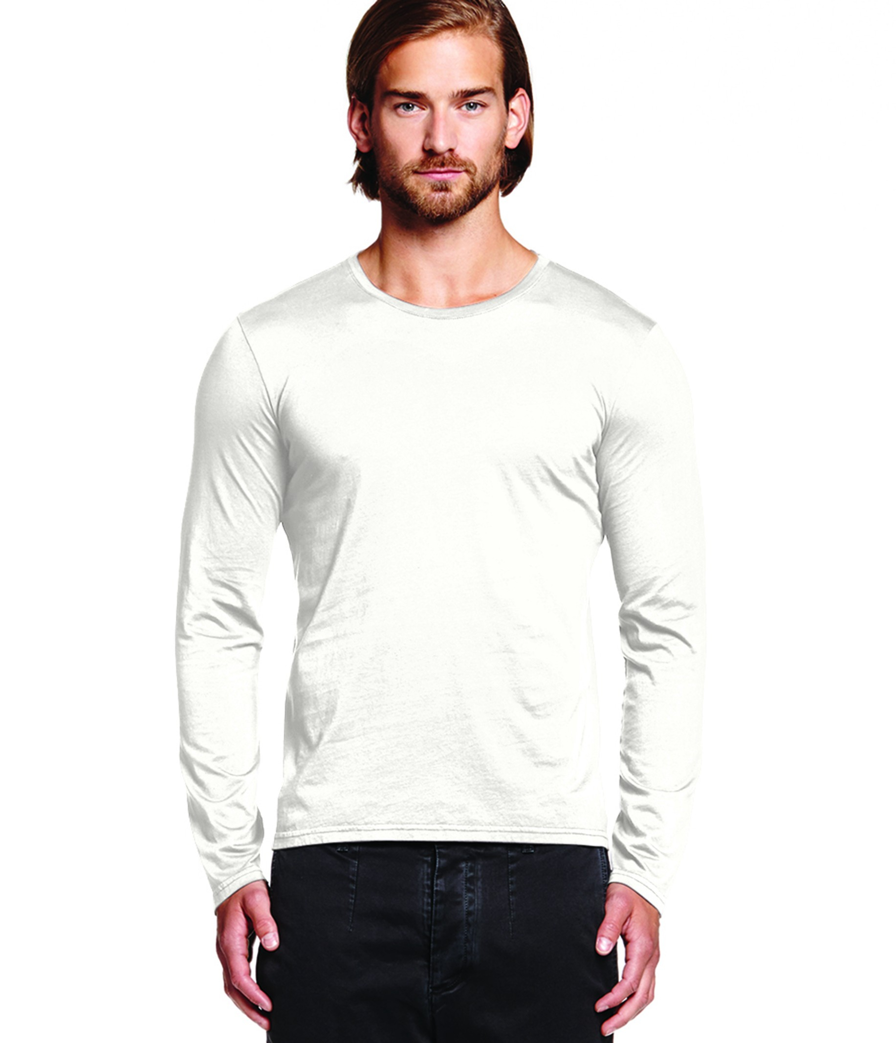 Michael stars pacific long sleeve crew neck tee in white for Michael stars tee shirts