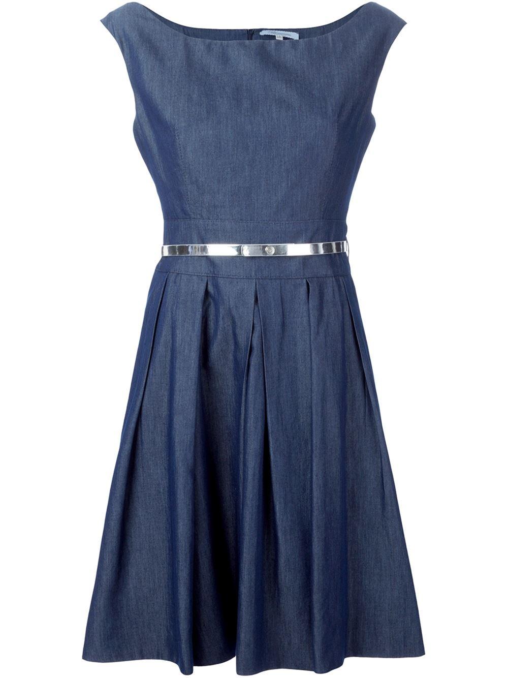 blumarine flared metallic belt dress in blue lyst