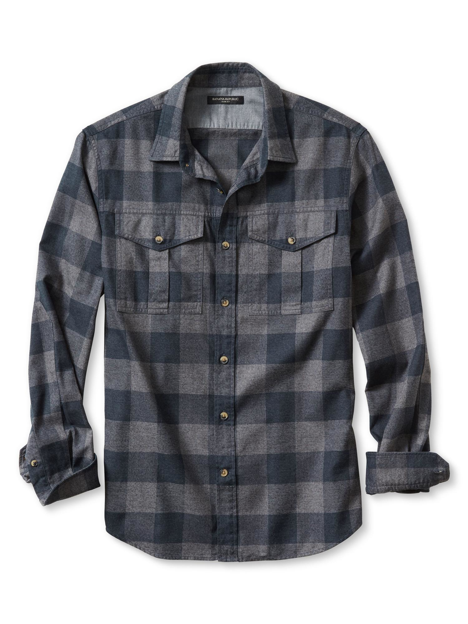 Banana republic slim fit buffalo check flannel shirt in for Mens slim fit flannel shirt