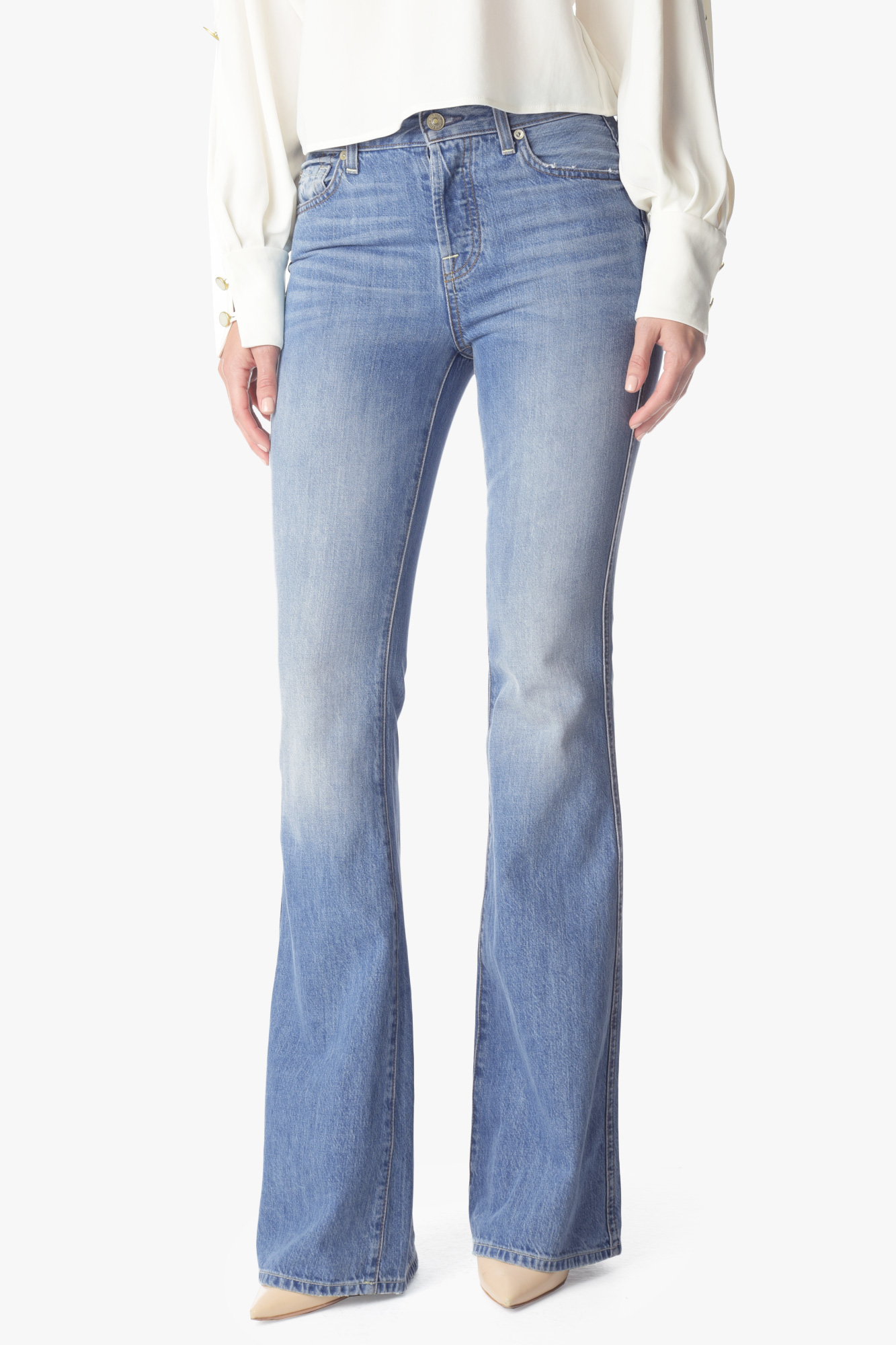 6bb114ee1269 Lyst - 7 For All Mankind High Waist Vintage Bootcut In Heritage ...