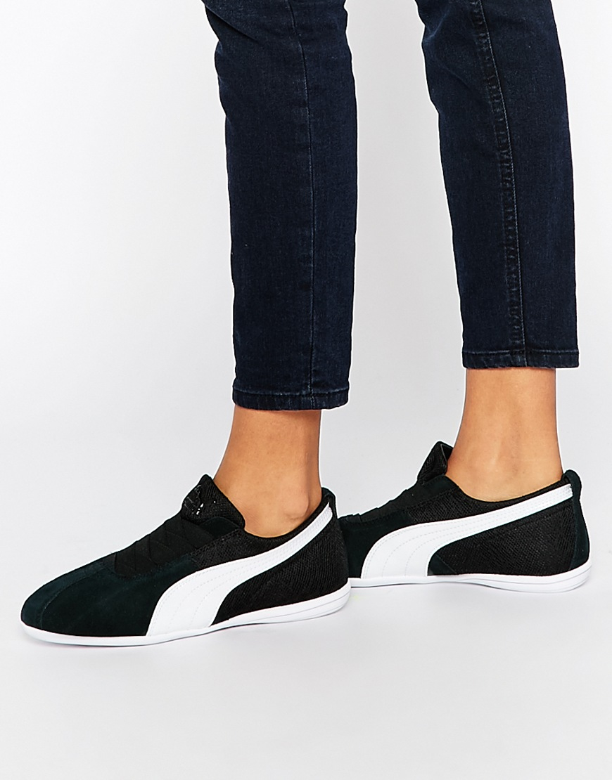 PUMA Eskiva Low Black Textured Trainers