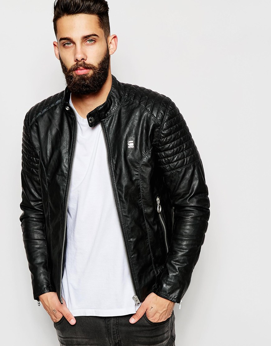 lyst g star raw faux leather jacket aviator rebel biker. Black Bedroom Furniture Sets. Home Design Ideas