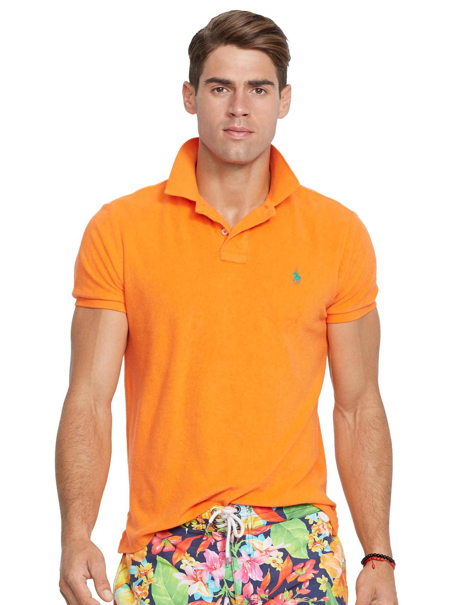Polo Ralph Lauren Custom Fit Terry Cloth Polo Shirt in Orange for ... 8a959294b118