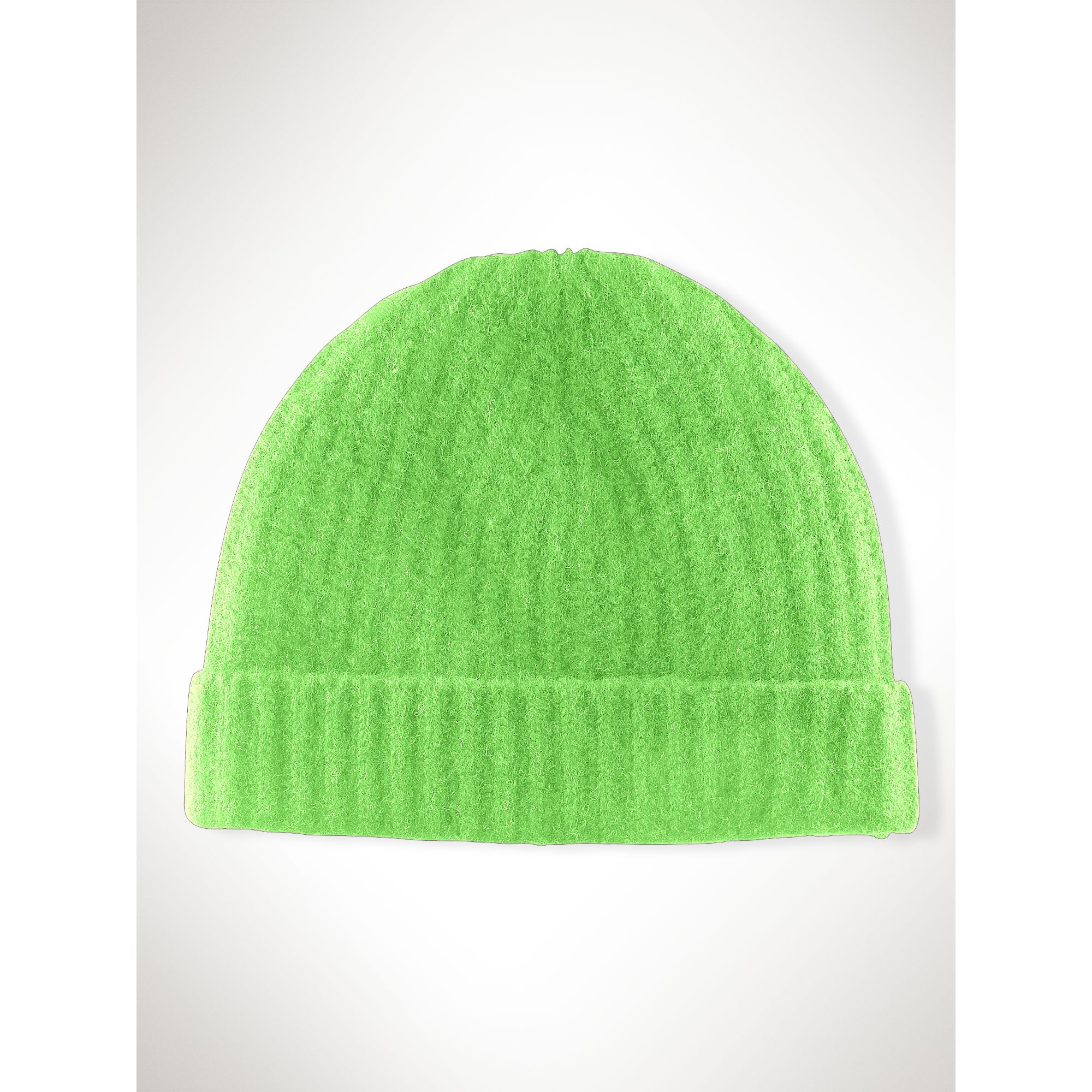Knitting Pattern Cashmere Hat : Ralph lauren Rib-Knit Cashmere Hat in Green (neon green) Lyst