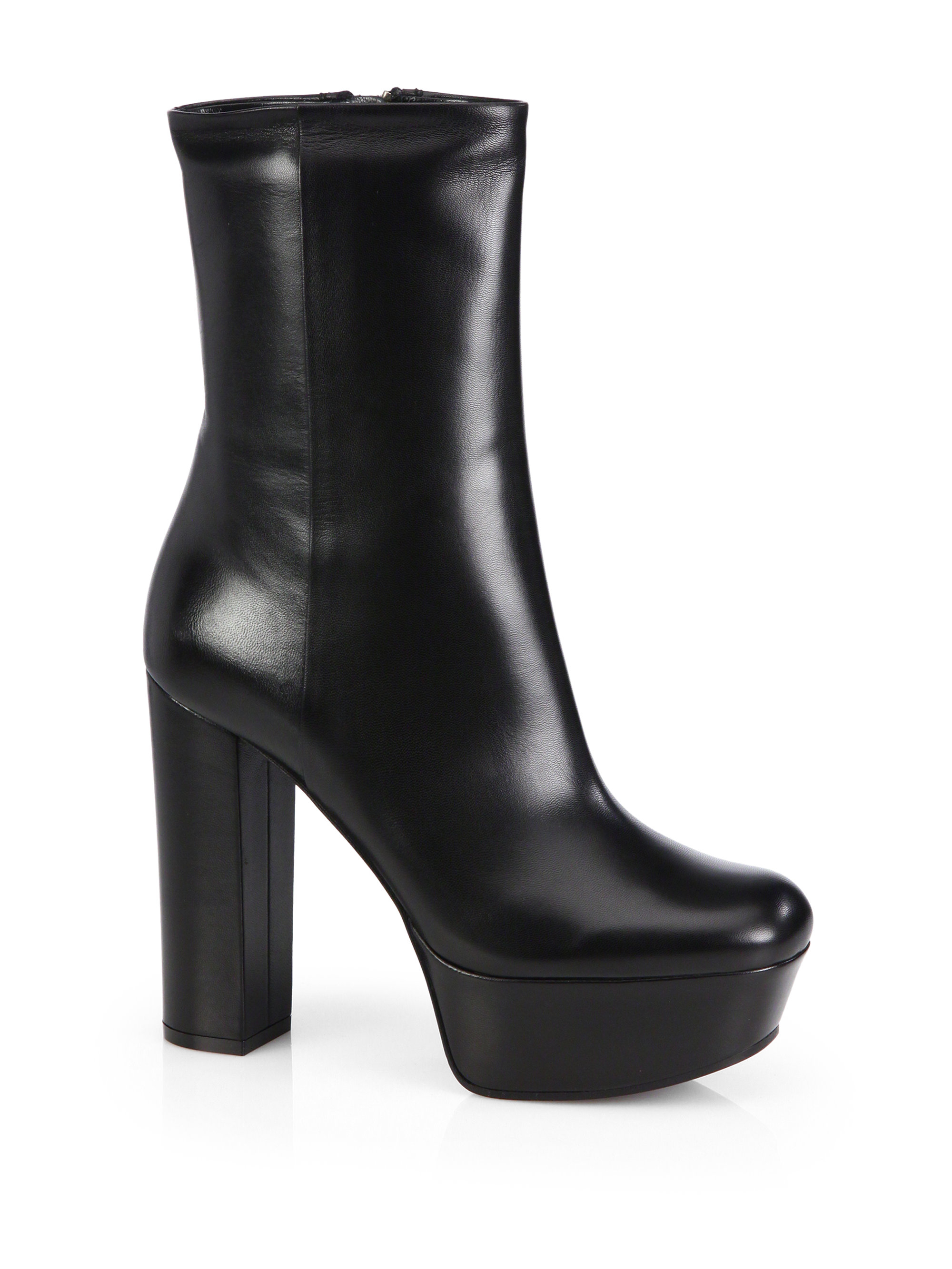 Gucci Leather Platform Ankle Boots In Black Lyst