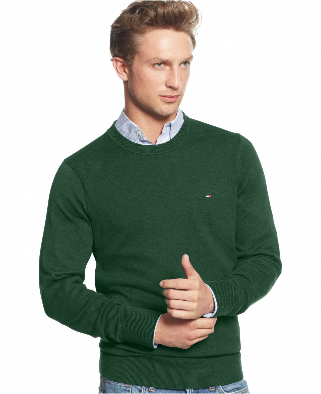 Tommy hilfiger Signature Solid Crew-neck Sweater in Green for Men ...