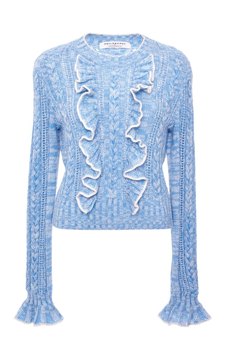 Philosophy di lorenzo serafini Light Blue Ruffle Cable Knit ...