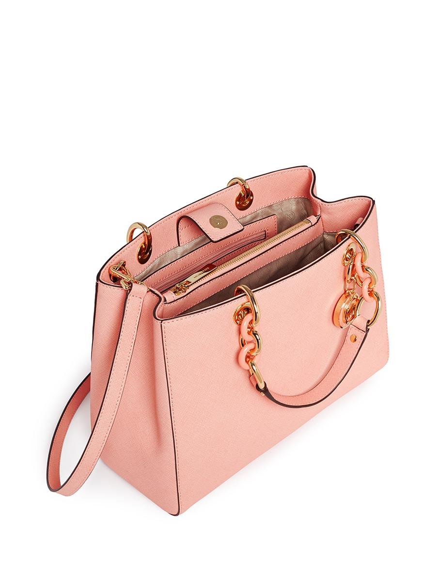 8190f2996b21 ... switzerland michael kors cynthia medium saffiano leather satchel in pink  lyst 1e336 bd297