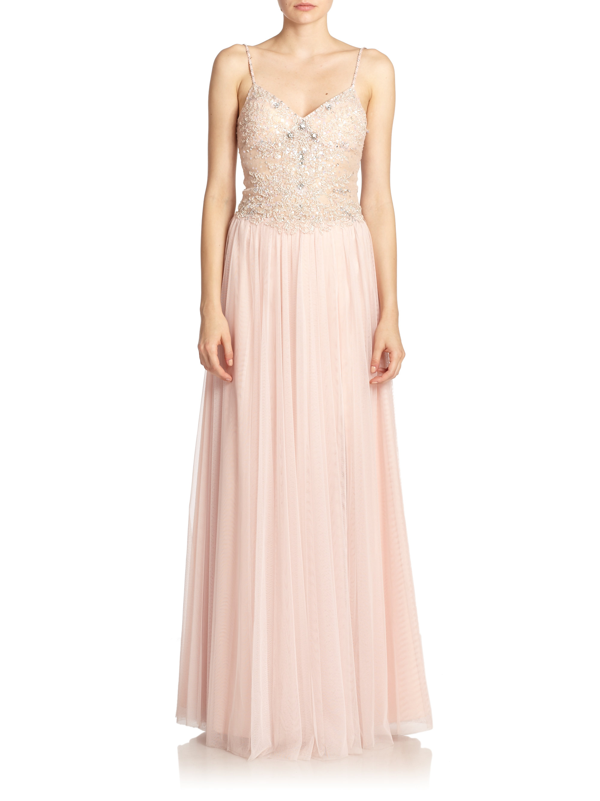 8ae253f7752 Basix Black Label Beaded Lace-top Gown in Pink - Lyst