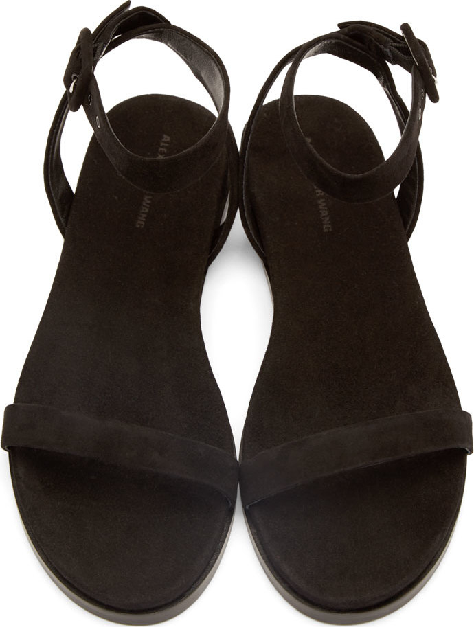 Lyst Alexander Wang Black Suede Alana Flat Sandals In Black
