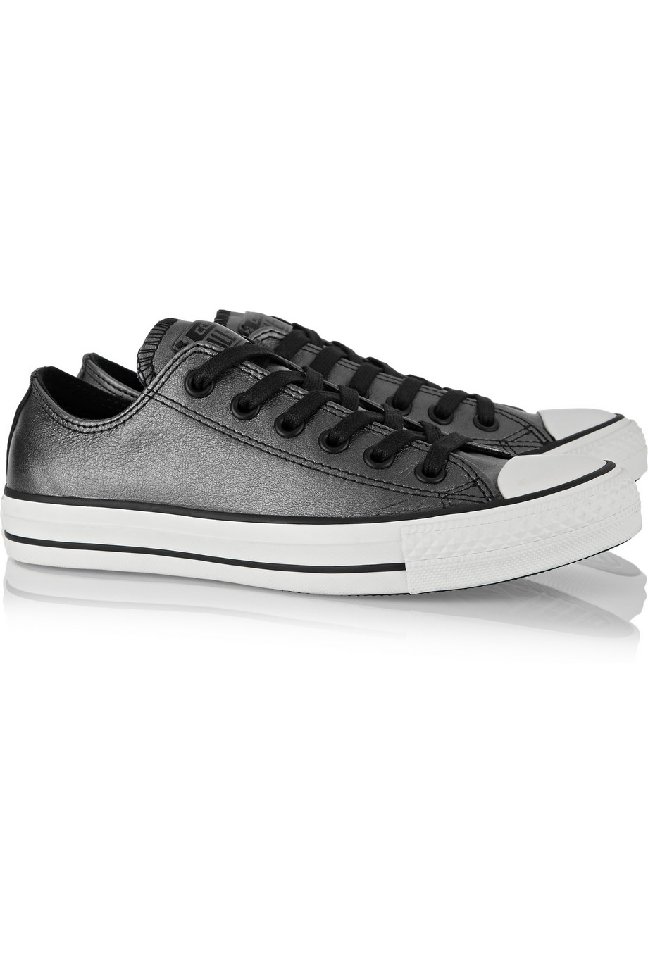Converse All Star Metallic Leather Sneakers in Grey