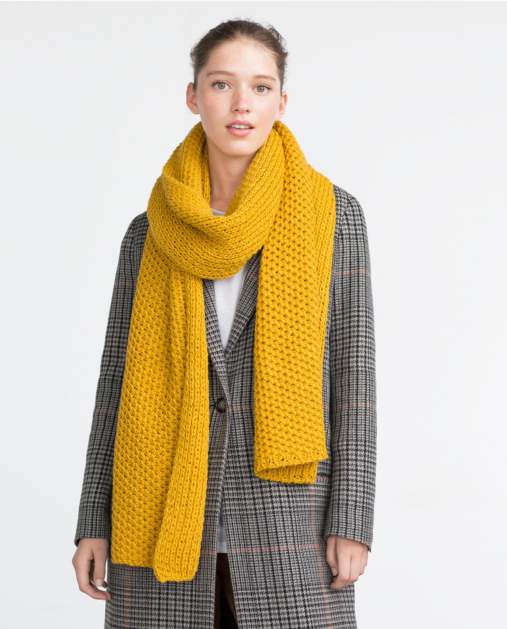 zara yellow knit scarf lyst