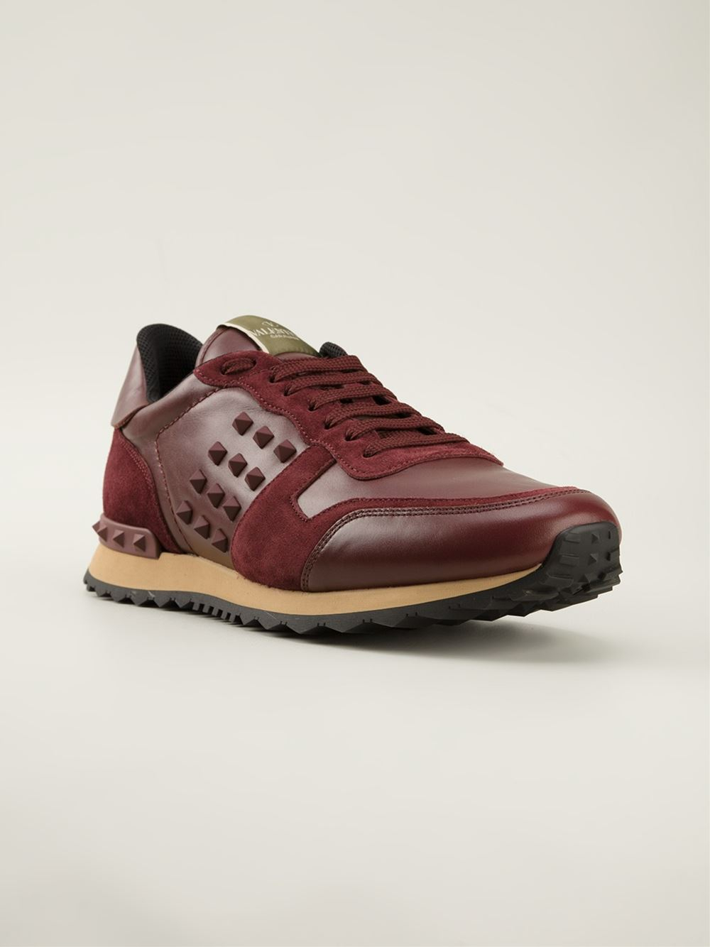 Valentino Rockstud Sneakers In Red For Men Lyst