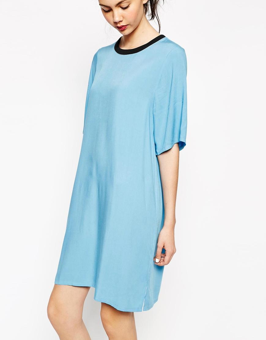 Monki T-shirt Dress in Blue | Lyst