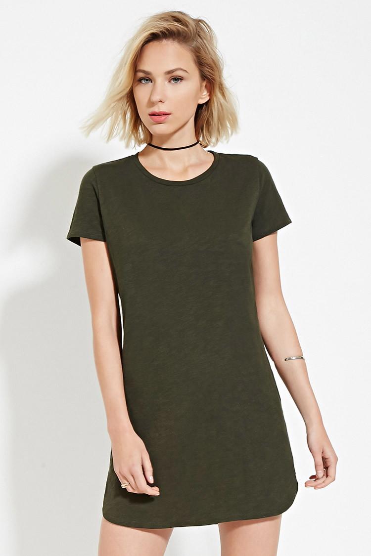 Women's Green Slub Knit T-shirt Dress