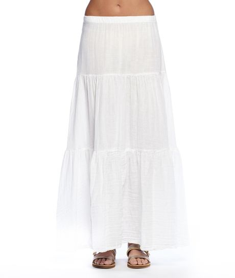 michael gauze tiered maxi skirt in white lyst