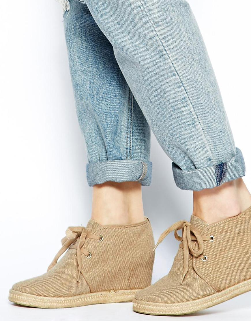 aldo lace up desert wedge boots in lyst