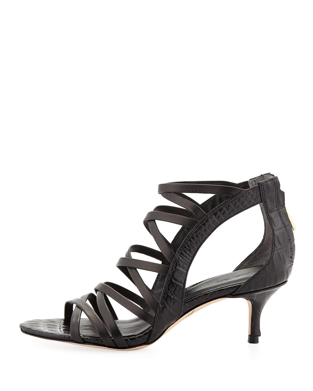 22f92c9d129 Lyst - Rachel Roy Jayni Crocembossed Kitten Heel Sandal Cadmium in Black