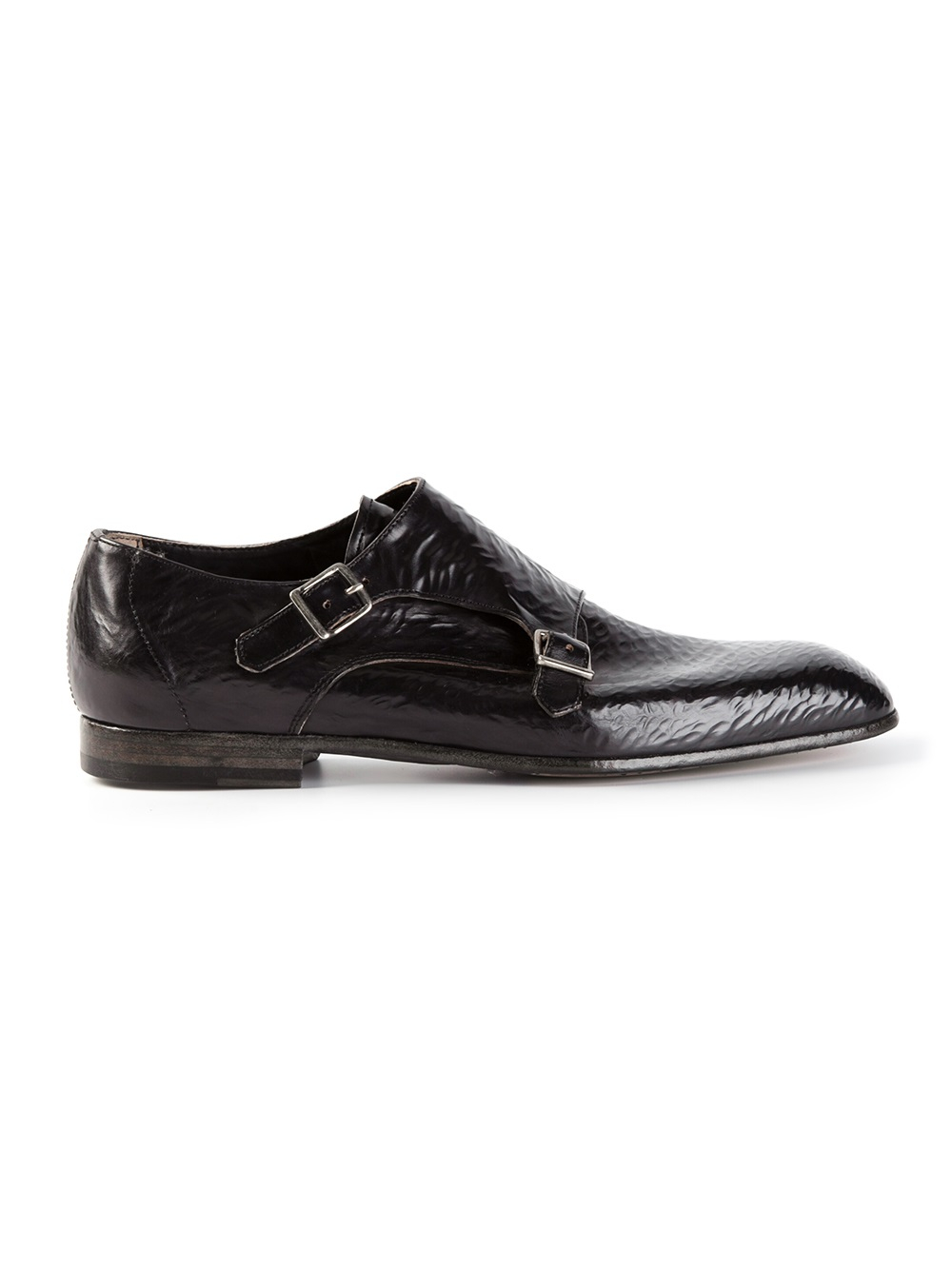 officine creative textured monk shoe in black for