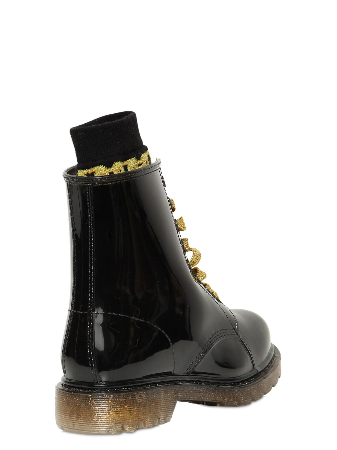Colors Of California 20Mm Glitter Rubber Lace Up Boots in Black