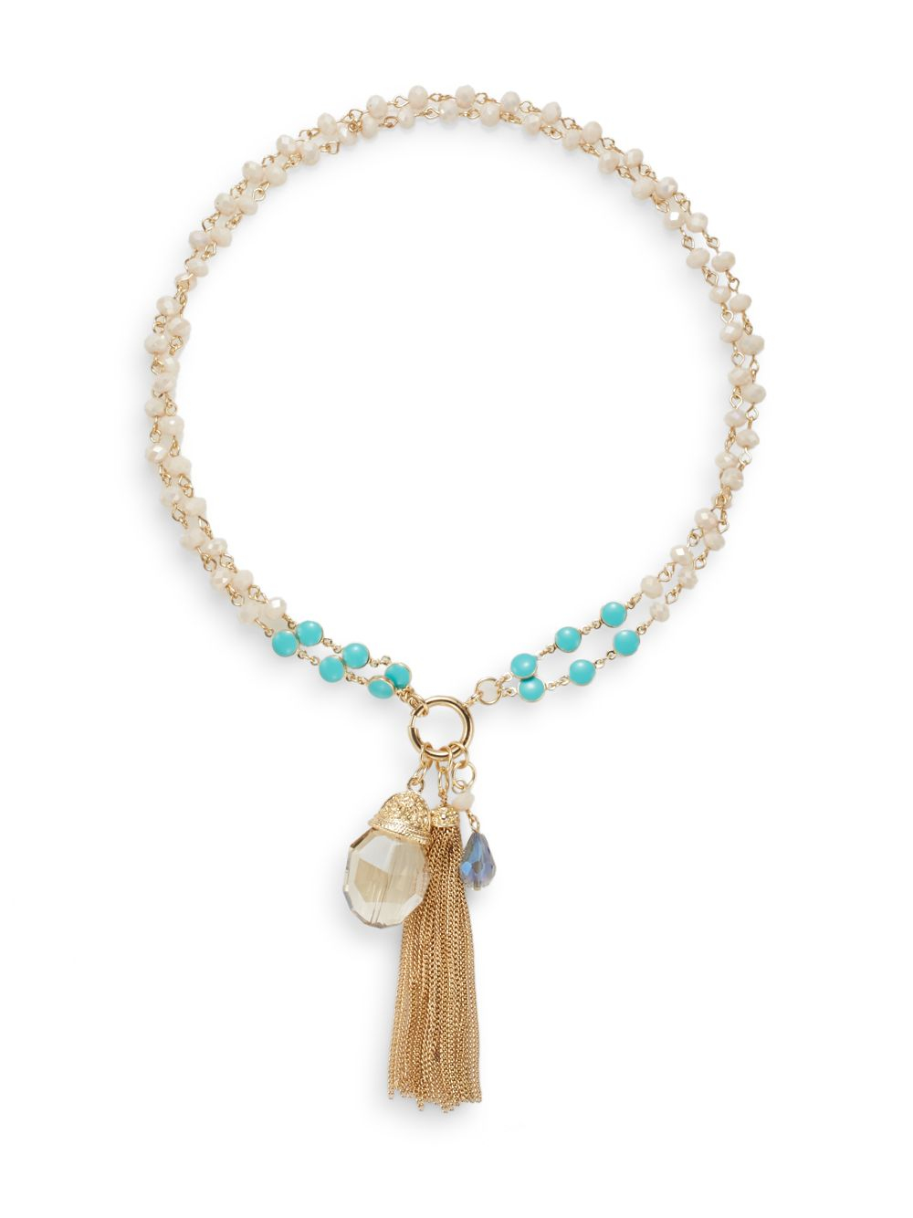 saks fifth avenue agate beaded pendant necklace in gold