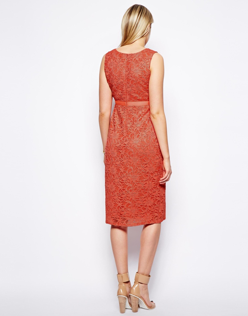 Asos Exclusive Lace Bodycon Dress With Ribbon Detail In
