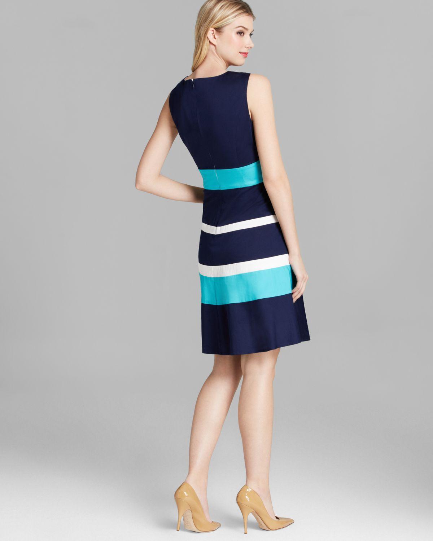 Anne Klein Dress Sleeveless Color Block Striped Swing In
