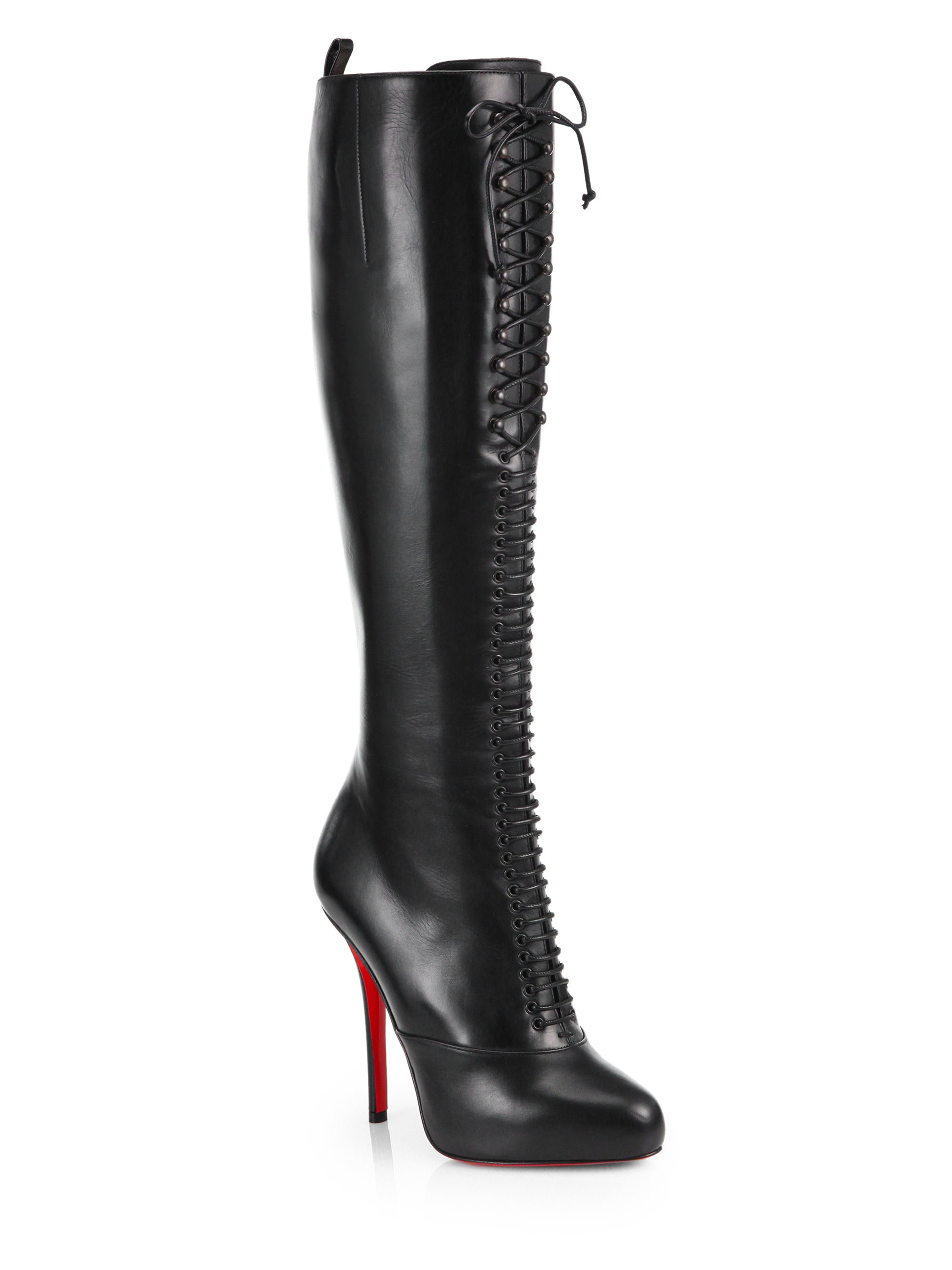 christian louboutin lamadone leather kneehigh boots in
