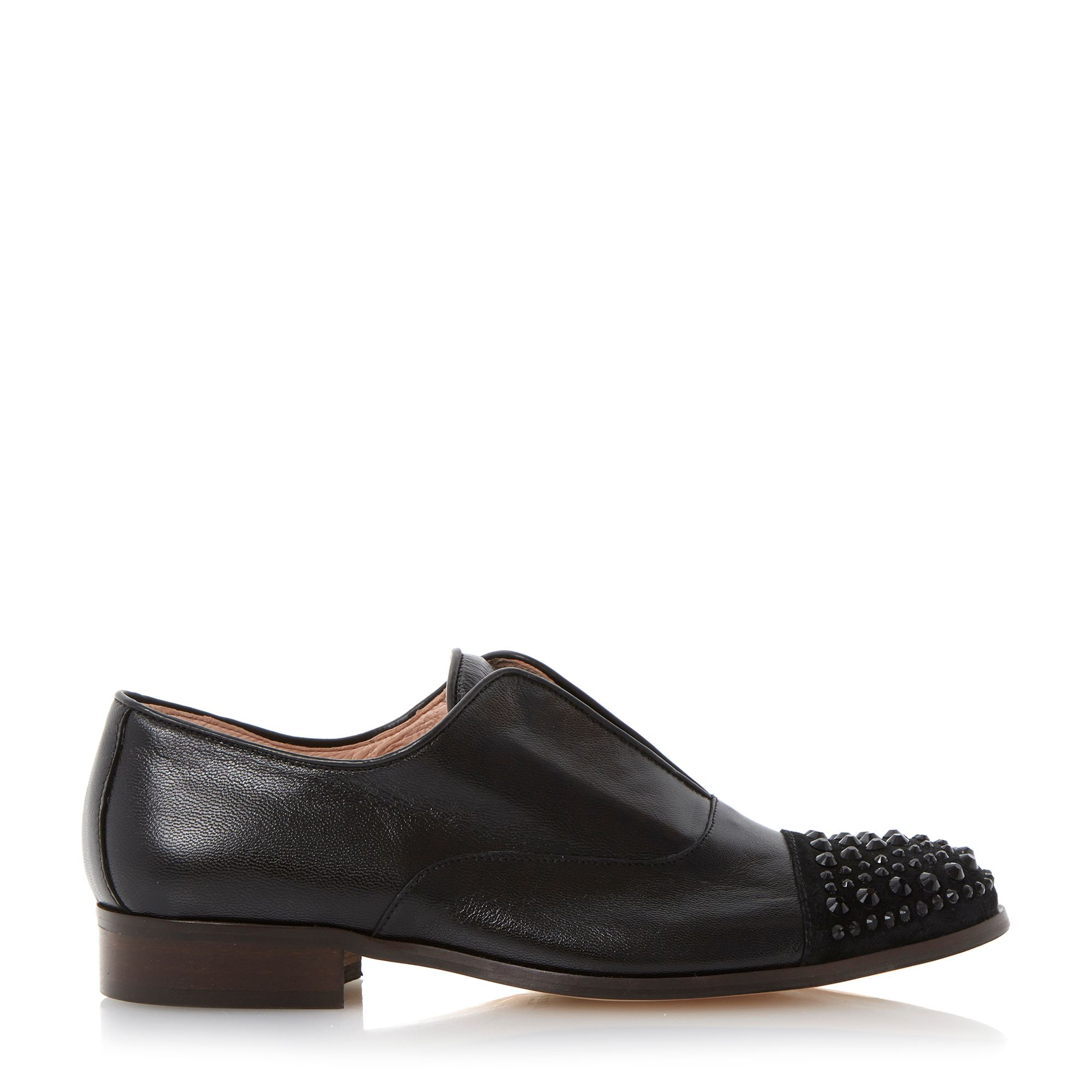 Dune Black Harri Leather Round Toe Loafer Shoes In Black ...