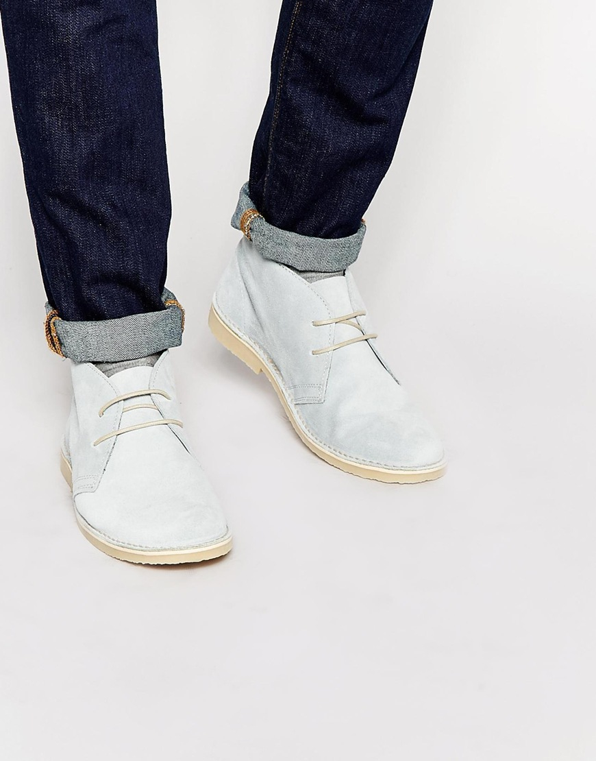 ee54e95f55a ASOS Desert Boots In Pastel Blue Suede for men