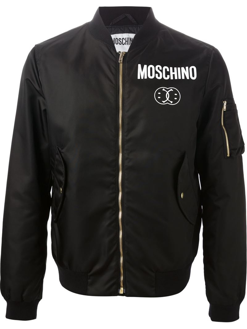 Moschino Smiley And Logo Print Bomber Jacket In Black For