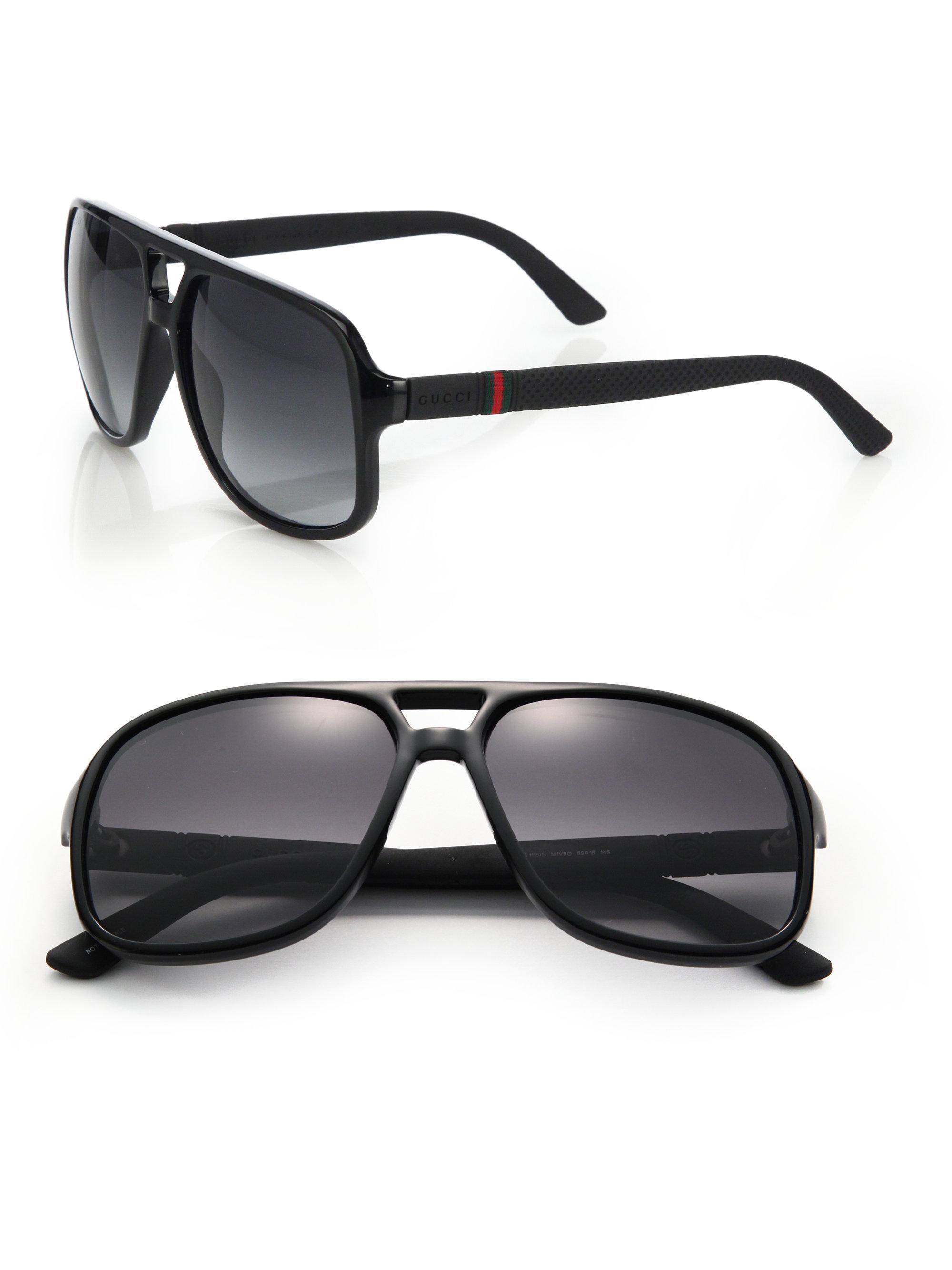 02080f75f7 Gucci 1115 59mm Mirror Aviator Sunglasses in Black for Men - Lyst