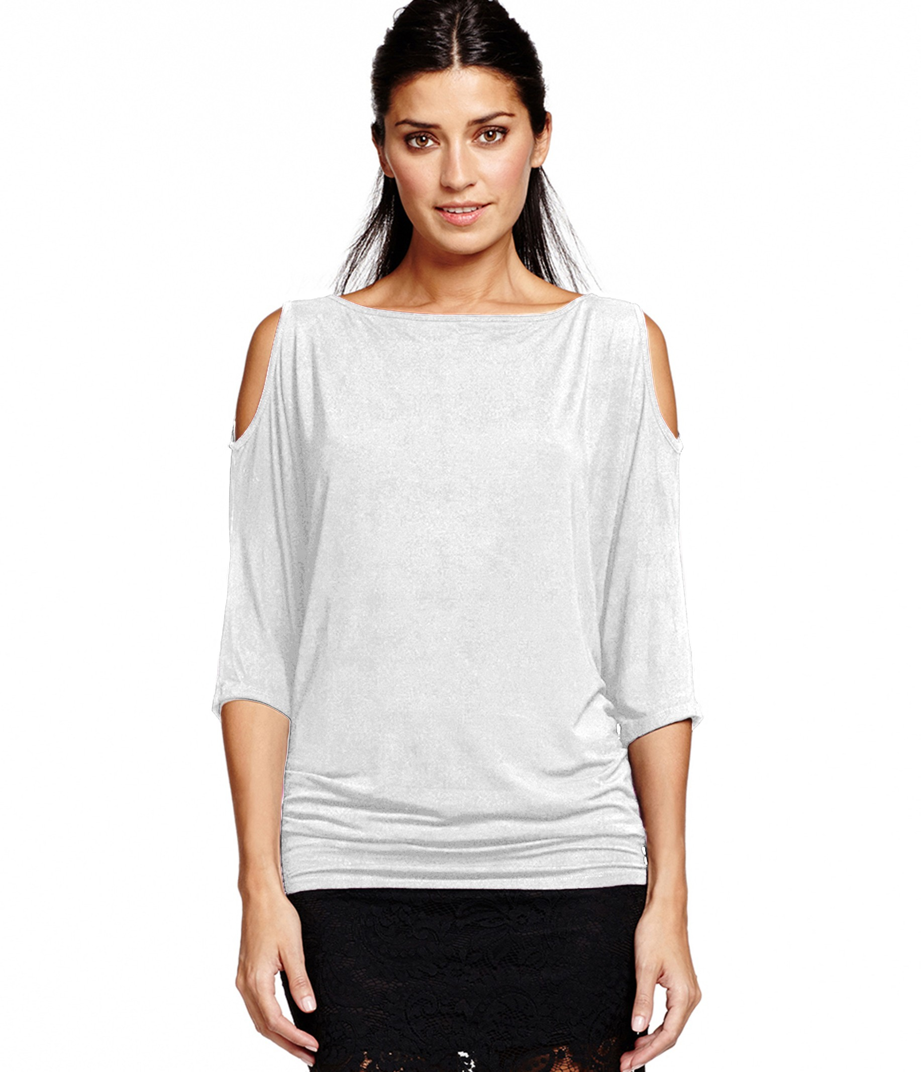 Michael stars 3 4 sleeve wide neck cold shoulder top in for Michael stars t shirts on sale
