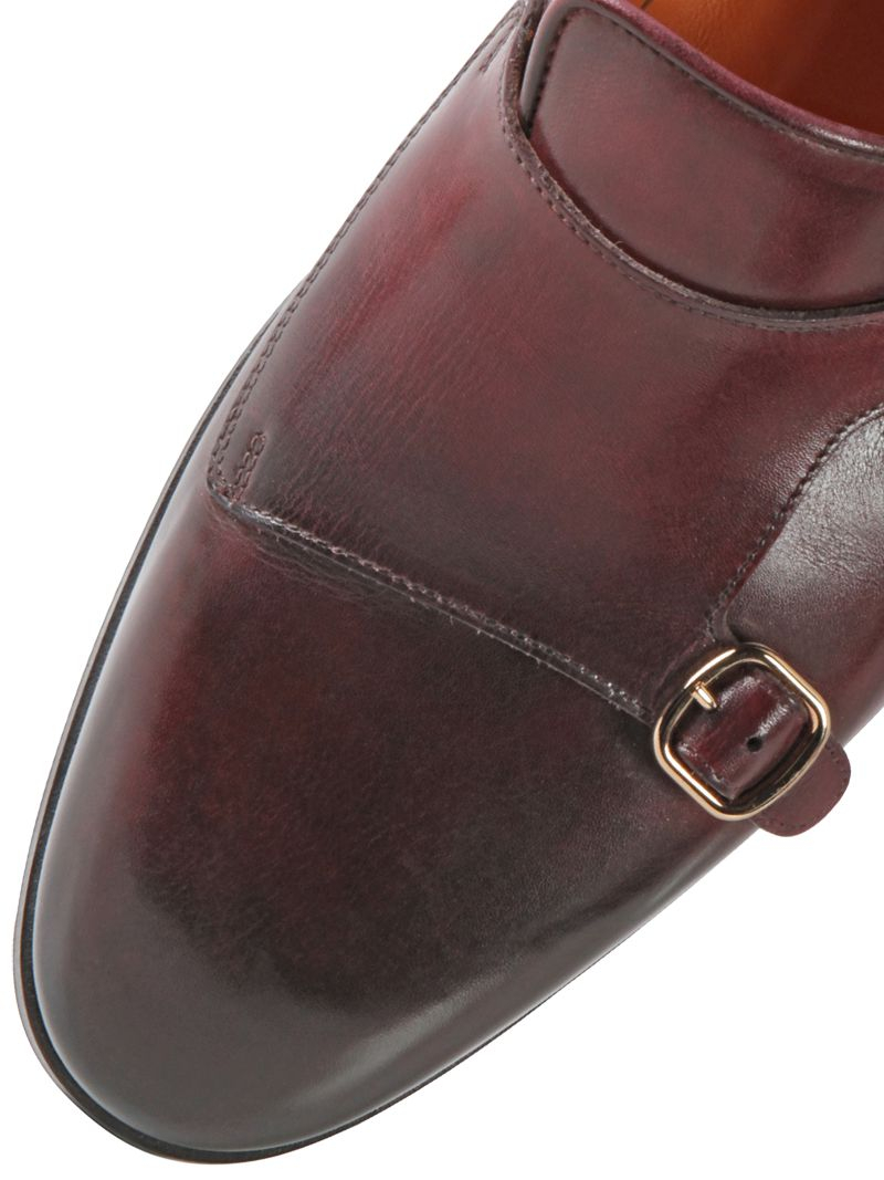 Santoni Hand Painted Leather Monk Strap Loafers In Red For